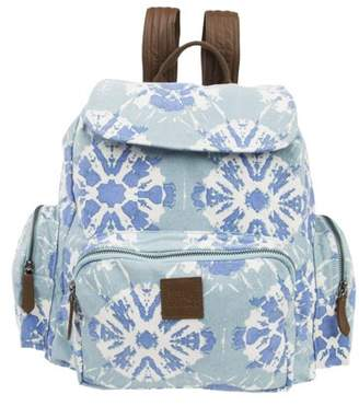 Ashton & Willow Aqua Blue Bohemian Handbags Sierra Rucksack Cotton Adjustable Strap Distressed Appearance Pewter Hardware Canvas Tie Dye Backpack