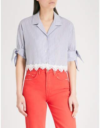 The Kooples Lace-trim cropped cotton shirt