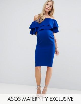 ASOS Maternity Large Ruffle Bardot Dress $56 thestylecure.com