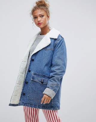 Pull&Bear denim coat with fleece collar in blue