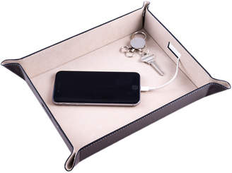 Bey-Berk Brown Leather Valet & Charging Station
