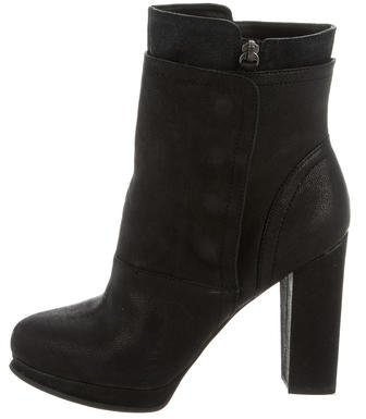 Vera Wang Leather Round-Toe Ankle Boots