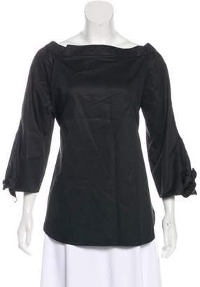 Tibi Cold-Shoulder Long Sleeve Top