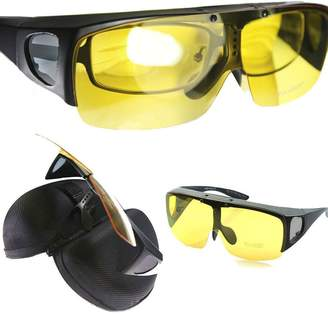 Agstum Wraparound Fit Over Eyeglasses Polarized Night Driving Flip up Sunglasses (, Yellow lens)