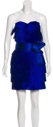 Marchesa Pleated Silk Dress