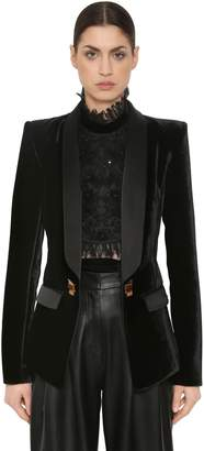 ZUHAIR MURAD VELVET BLAZER W/ JEWELED BUTTONS & CHAIN