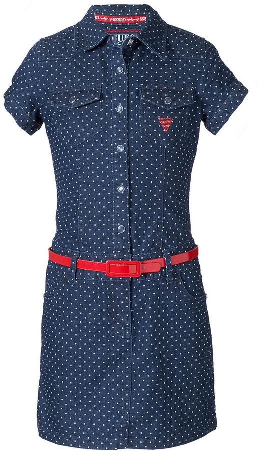 GUESS Girls Dress, Girls Printed Denim Dress with Belt
