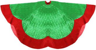 Northlight 60In Green Metallic Pleated Red Velvet Trimmed Scalloped Edge Christmas Tree Skirt