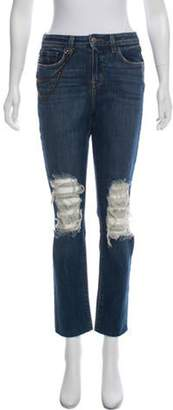 L'Agence Distressed Mid-Rise Jeans Blue Distressed Mid-Rise Jeans