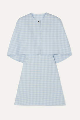 Sara Battaglia Cape-effect Checked Stretch-cotton Cloqué Mini Dress - Blue