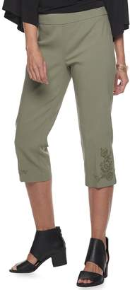 Dana Buchman Women's Embroidered Pull-On Mid-Rise Capris