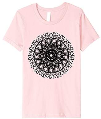 Black Floral Circle Bohemian Mandala Symbol Graphic tshirt