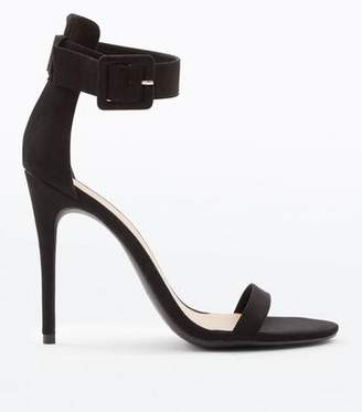 73c6b7653a1 New Look Black Suedette Buckle Strap Barely There Heels
