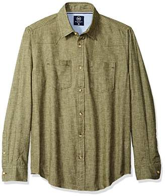 Badger Smith Men's Melange Twill Chambray Solid Slim Fit Button Down Shirt M