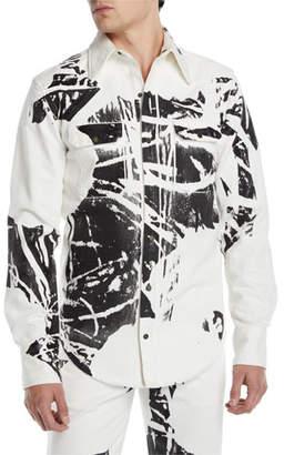 Calvin Klein Men's Graphic Denim Sport Shirt