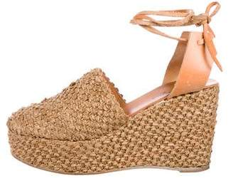Robert Clergerie Woven Straw Platform Wedges