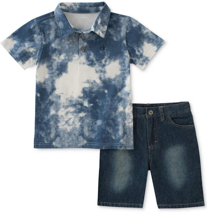 2-Pc. Printed Polo & Denim Shorts, Baby Boys