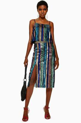 Topshop Sequin Stripe Midi Skirt
