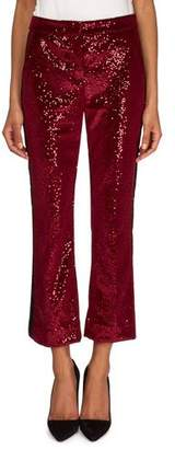 Redemption Flared Velvet Paillettes Cropped Pants with Tuxedo Stripes