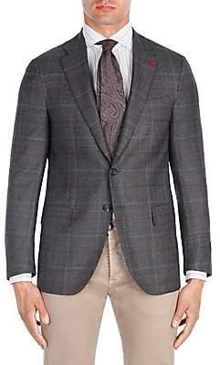 Isaia Men's Contrast Windowpane Wool Sportcoat