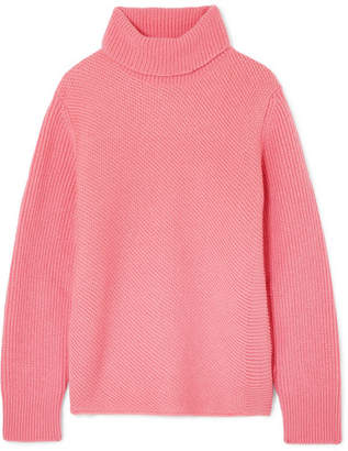 Cédric Charlier Ribbed Wool And Cashmere-blend Turtleneck Sweater - Pink