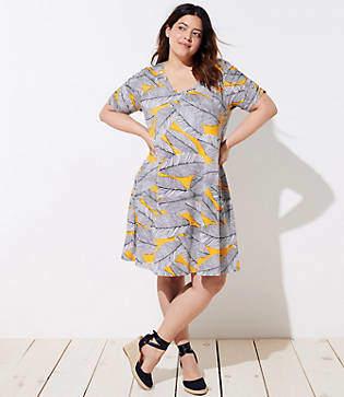 LOFT Plus Fern Short Sleeve Swing Dress