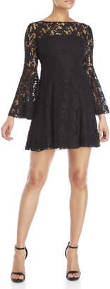 Jay Godfrey Black Mainden Lace Bell Sleeve Fit & Flare Dress