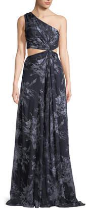 Cinq à Sept Goldie One-Shoulder Floral-Print Silk Open-Waist Gown