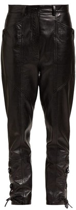 Isabel Marant Cadix Lace Up Leather Trousers - Womens - Black