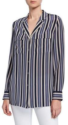 Lafayette 148 New York Maximina Painted Desert Stripe Button-Down Silk Blouse