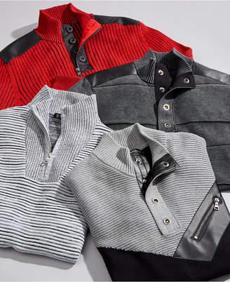 INC International Concepts I.n.c. Men Dean Ottoman Stitch Quarter-Zip Sweater