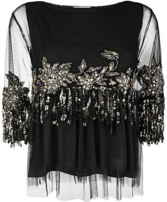 Semi-Couture Semicouture jewel embroidered tulle top