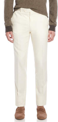 Luciano Barbera Cream Flat Front Dress Pants