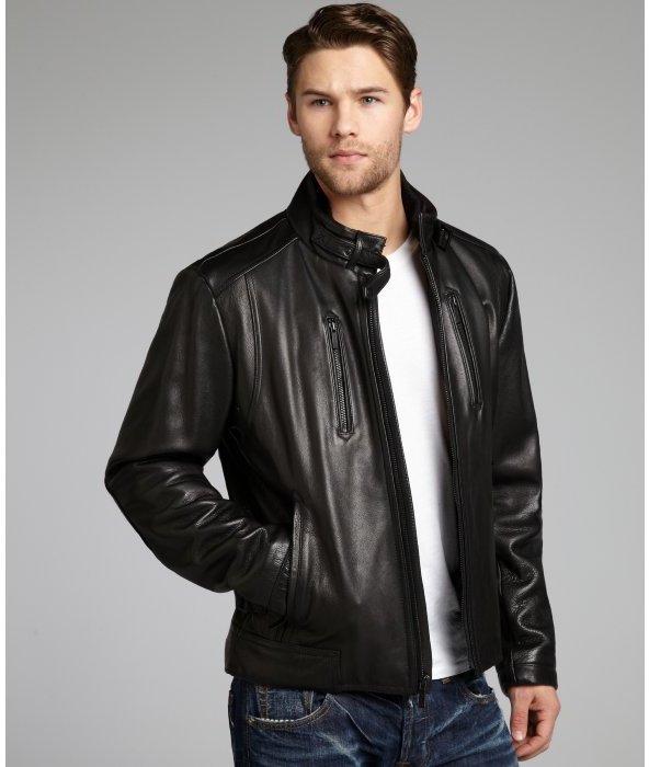 Calvin Klein black leather motorcycle jacket