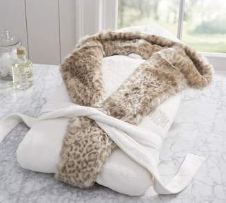Pottery Barn Faux Fur Hooded Bath Robe - Dune Leopard