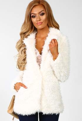 fae9ad87d5ab Pink Boutique Stay Cosy Cream Shaggy Jacket