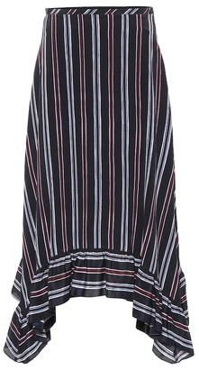 See by Chloe Striped silk crepe midi skirt