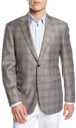 Brioni Plaid Wool Two-Button Sport Coat, Taupe