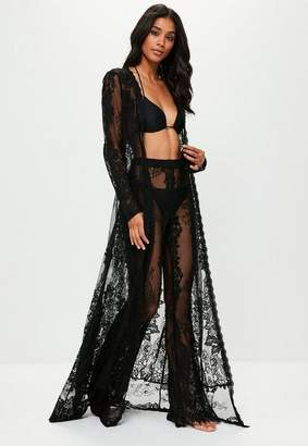 Missguided Black Premium Eyelash Lace Kimono