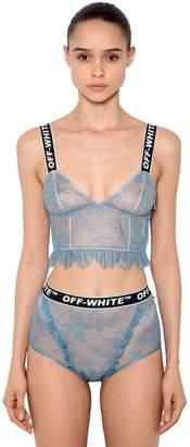 Off-White Lace Lingerie Ensemble W/ Logo Band