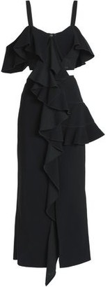 Proenza Schouler Cutout Ruffled Crepe Midi Dress