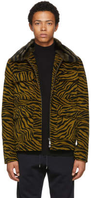 Bottega Veneta Black and Yellow Lamb Shearing Zebra Jacket