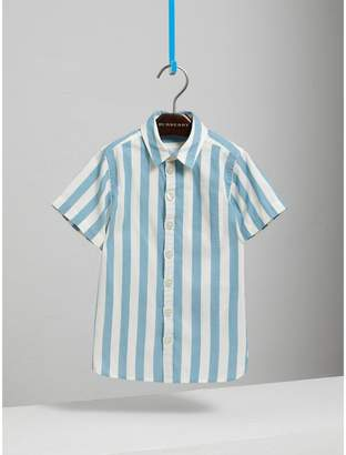 Burberry Short-sleeve Striped Cotton Shirt