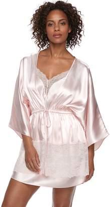 Apt. 9 Women's Satin Lace Trim Wrap Robe