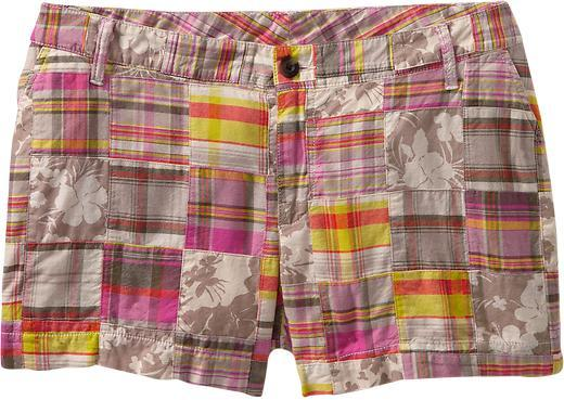 Old Navy Women's Plus Madras Patchwork Shorts