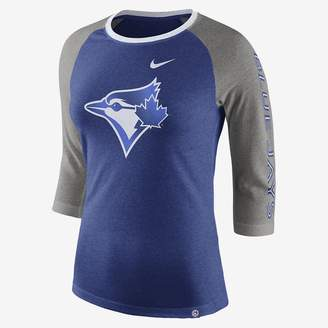Nike Tri-Blend Raglan (MLB Blue Jays) Women's 3/4 Sleeve Top