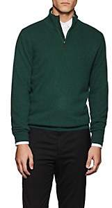 Piattelli MEN'S CASHMERE QUARTER-ZIP SWEATER - DK. GREEN SIZE L