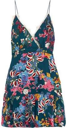 Saloni Ani Lace-trimmed Fil Coupe Chiffon Mini Dress