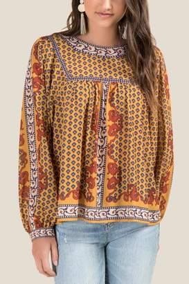 francesca's Sally Patterned Peasant Blouse - Marigold