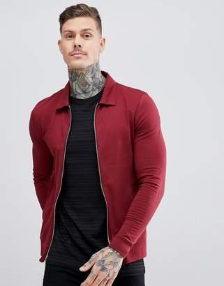 Asos DESIGN Muscle Jersey Harrington Jacket In Burgundy